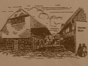 Zeichnerische Darstellung des Komturhofes vor 125 Jahren