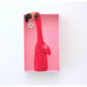 Fingerpuppe pink Flamingo