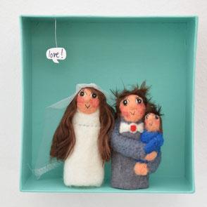 Fingerpuppen Brautpaar mit Kind