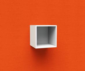 Cube, Aufräumen, Ordnerregal vor Schallabsorber mit eignem Bildmotiv für eine Kafeeecke, Wartebereich, Lounge