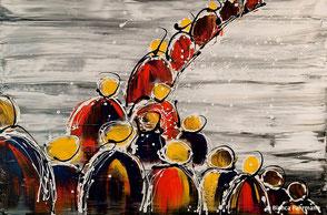 Die Prozession  - Acryl auf Leinwand - (c) Bianca Fuhrmann