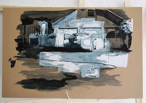Tusche auf Karton, 2020, ca. 67 x 114 cm, Preis 50 Euro