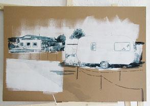 Tusche auf Karton, 2020, ca. 67 x 114 cm, verkauft