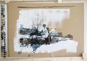 Tusche auf Karton, 2020, ca. 67 x 114 cm