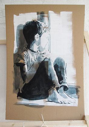 Tusche auf Karton, 2020, ca. 114 x 67 cm, verkauft