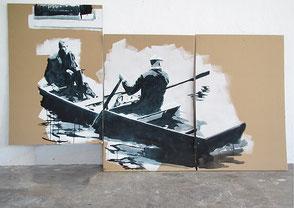 Tusche auf Karton, 2020, ca. 114 x 201 cm, verkauft