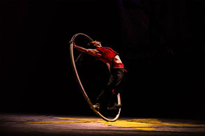 Pancho Libre Performer Cyr Wheel Street Performance