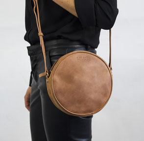 camel eco leather round bag Luna Oh My Bag