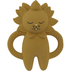natural rubber teeth soother lion mustard konges slojd