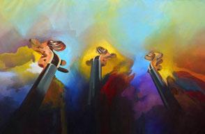 oeuvre d'art musicale, oeuvre musicale, oeuvres musicales, peinture sur la musique, tableau sur la musique, toile avec instrument de musique, tableau thème musique, tableau musique jazz, tableau instrument de musique, artiste cubain Amaury Suarez