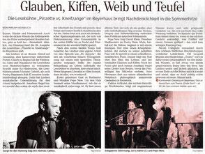 Zeitungsartikel zu Jan Lindners Lesebühne Pinzette vs. Kneifzange in der Leipziger Volkszeitung