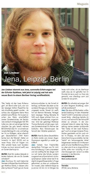 Zeitungsartikel zu Autor Jan Lindner im Blitz! Thüringen