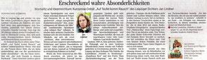 """Rezension zu Jan Lindners Buch """"Auf Teufel komm Rausch"""" in der Leipziger Volkszeitung"""
