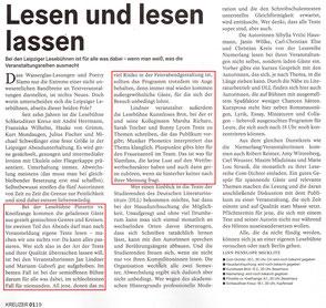 Zeitungsartikel zu Jan Lindners Lesebühnen im Kreuzer Leipzig