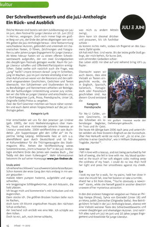 Zeitungsartikel zu Preisträger Jan Lindner beim JuLi im Juni-Schreibwettbewerb in der Infood Studentenzeitung