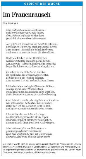 """Jan Lindners Schüttelreim """"Im Frauenrausch"""" in der Freien Presse"""