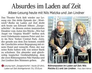 Zeitungsartikel zur Szenischen Lesung mit Jan Lindner und Nils Matzka in der Leipziger Volkszeitung