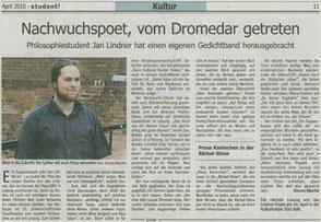 Zeitungsartikel zu Jan Lindner in der Studentenzeitung student!