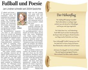 Fußball-Sonett von Jan Lindner zu RB Leipzig in der Leipziger Volkszeitung