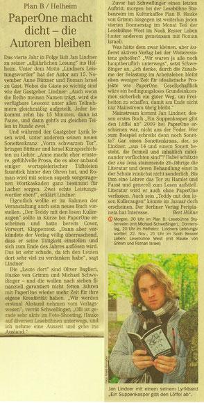 """Zeitungsartikel zur Lesereihe """"Lindners Leistungswortler"""" in der Leipziger Volkszeitung"""