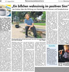 Zeitungsartikel zum Autor Jan Lindner im Sachsensonntag