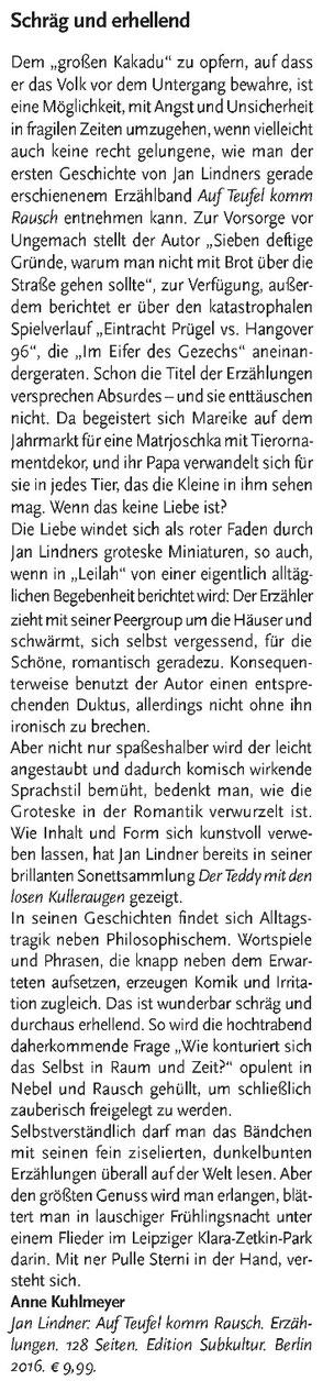 """Rezension zu Jan Lindners Buch """"Auf Teufel komm Rausch"""" in der Literaturzeitschrift """"Am Erker"""""""