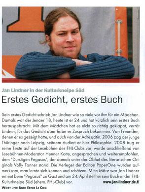 Zeitungsartikel zu Jan Lindner im Blitz! Leipzig
