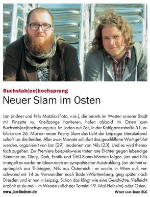 Zeitungsartikel zum Topic Slam mit Nils Matzka im Blitz! Leipzig
