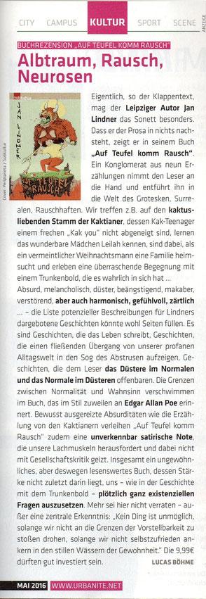 """Rezension zu Jan Lindners Buch """"Auf Teufel komm Rausch"""" im Stadtmagazin urbanite"""