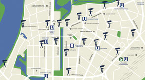 Stadtplan mit möglichen Standorten für SignSpinnern im Zuge einer Spintropole Marketingkampagne.