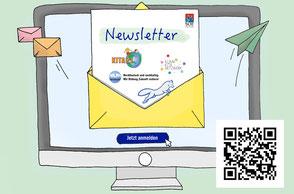 Grafik: Laptop mit Brief. Symbol Newsletter