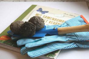 3 Samenbomben liegen auf Schaufen, die auf Gartenhandschuhen liegt. Darunter ein Buch.