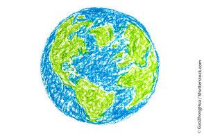 Gemalte Erdekugel, Skizze blau grün