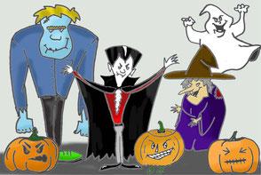 Halloween Illustration, Hexe Zombie Vampir