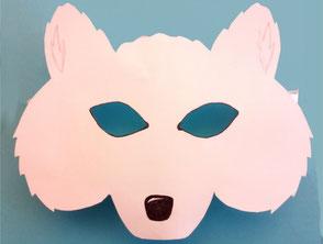 Polarfuchs-Maske aus Papier