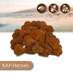KAP-Snacks kaltgepresste Hundesnacks Herzen, ohne Zucker, getreidefrei