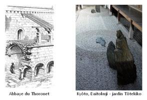 右)ル・トロネー・シトー会修道院 左)大徳寺
