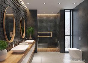Modernes Bad mit Naturschiefer