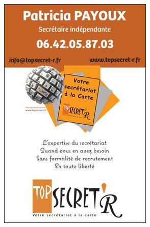 Carte de visite TOP SECRET'R - Secrétaire dans le Var