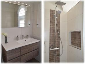 Modernes Tageslichtbad mit Dusche, WC und viel Ablagemöglichkeiten