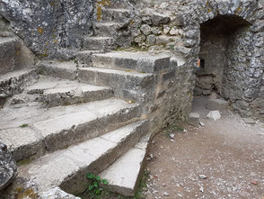 Stairs cut out into the rock in front of the dwelling of the garrison