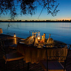 Dinner next to the Zambezi River