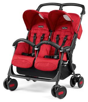 Kinderwagen Zwillingswagen Aria Shopper Twin Geo Red