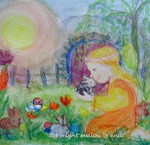 Bild Mädchen mit Zwerghasen Ostern