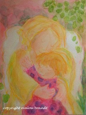 Engel umarmt Mädchen Gemälde
