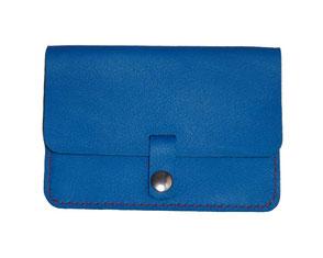porte-monnaie en cuir bleu lagon