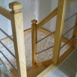 escalier bois inox fabriqué et posé par les Menuiseries Lethu