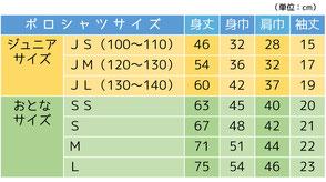 ポロシャツサイズ表