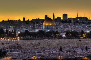Jerusalem, Ölberg, Tempelberg, Foto, Skyline, Sonnenuntergang,  Belichtungsreise