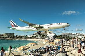 St- Maarten, Landebahn, Strand, Flugzeug, landen, Karibik, gefährlichste, Foto, Bild, Picture